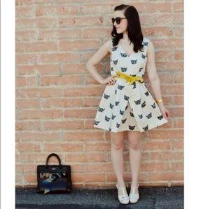 Anthropologie Leah Reena Goren Cat Print Dress